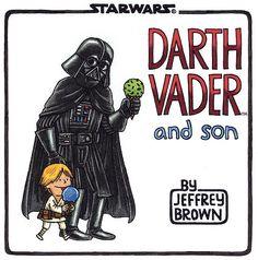 STAR WARS. DARTH VADER E HIJO. -Cómic humorístico que presenta que parte de una situación hipotética: Darth Vader, Lord Oscuro de los Sith , lidera al Imperio Galáctico contra la heroica Alianza Rebelde. Antes de poder ocuparse de los rebeldes, Lord Vader  debe ocuparse primero de su hijo de cuatro años, Luke Skywalker.