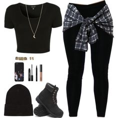 Boss Chick Casual timberlands beanies black plaid necklace makeup jewelry laces leggings urban street fashion sexy tough girl hot sexy city girl