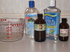 Homemade Hand Sanitizer  1/4 cup 100% aloe vera gel  1/4 cup witch hazel  1 tsp vegetable glycerin  1 TBS apple cider vinegar  10 drops tea tree oil  a few drops of essential oil (optional)  bottle with lid, spray top or pump    Mix it all together and put it in bottle, shake and sanitize those hands the natural way!