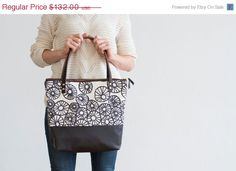 AnemoneTote in Warm Charcoal Hand Printed by annajoyce