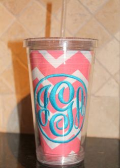 Your place to buy and sell all things handmade Coral Chevron, Embroidery Boutique, Shot Glass, Tumbler, Stitches, Simple, Unique Jewelry, Tableware, Sweet