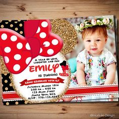 1st Birthday Minnie Mouse Invitations Invitation Sizes Party Venues