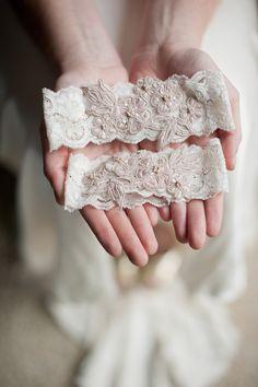 Blush lace garters by Emily Riggs (@Bridget Adams)