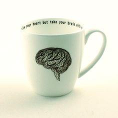 Énorme suivre ton coeur mais prenez votre cerveau avec vous tulipe grande forme géométrique Bone China thé ou café anatomie