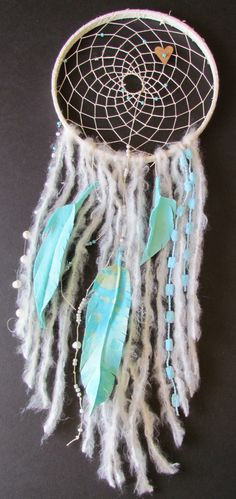 Shabby Chic Dream Catcher in cream and turquoise
