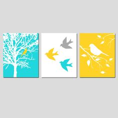 Nursery Art Prints - Modern Bird Trio - Set of Three 8x10 Prints - Choose Your Colors - Shown in Yellow, Gray, Aqua, and More
