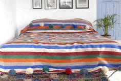 Moroccan pom pom blanket bedspread throw rug 100% by BerberLooms