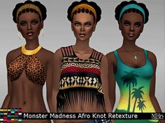 Afro Knot by Monster Madness Hair Retexture at Sims Addictions