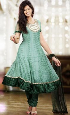 $92.59 Teal Blue Faux Georgette Moti Work Anarkali Salwar Kameez  25127