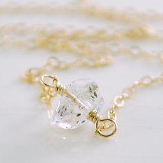 Herkimer Diamond Jewelry Choker Necklace by livjewellery on Etsy,