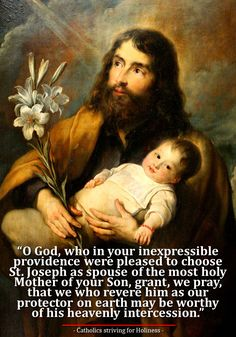 ST. JOSEPH, MASTER OF INTERIOR LIFE, PRAY FOR US! St. Joseph had an intimate and continuous contact and union with Jesus and Mary throughout his years at their side. If we want to grow in our love …st jo