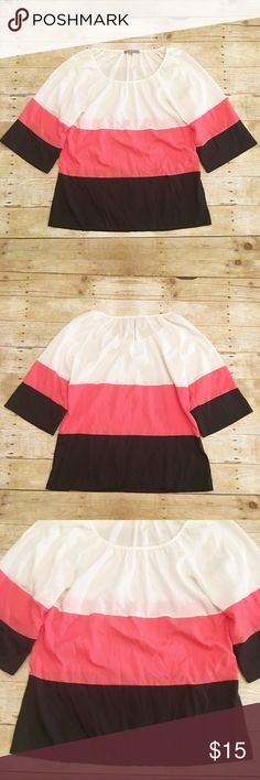 White/pink/black block ny collection blouse, small Very good used condition ny collection blouse in a size small. Slightly long sleeve. I love the block colors! Definitely makes it easy to match multiple things. No flaws that I see. Total length- approximately 26 3/4 inches, bust- approximately 19 inches, sleeve length- approximately 18.5 inches(from neck). NY Collection Tops Blouses