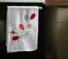 flour sack towel- red & aqua. obsessed with these colors lately.