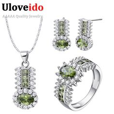 Find More Jewelry Sets Information about 925 Sterling Silver Bridal Jewelry Sets Women Red Green Purple Crystal Jewelry Wedding Necklace Earrings Rings Set Ulove T554,High Quality necklace cheap,China necklace brush Suppliers, Cheap necklac from ULOVE Fashion Jewelry on Aliexpress.com