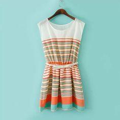 Модное платье без рукавов в полоску, цвет-красочный, цена указана за 1 шт.