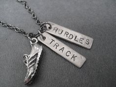 RUN TRACK HURDLES Necklace - Running Necklace on 18 inch gunmetal chain - Track Jewelry - Hurdles Jewelry. $19.00, via Etsy.