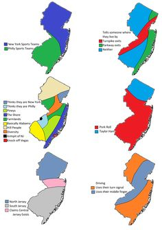 6 ways to divide New Jersey. More stereotype maps >> New Jersey Humor, Pork Roll, All Things New, Random Things, Random Stuff, Jersey Girl, You Are Perfect, Great Memories, Divider