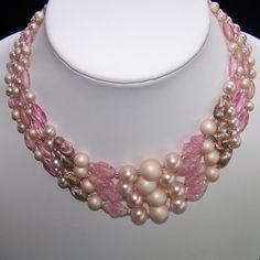 Vintage Pink Art Glass Bead 4 Strand Necklace Japan            http://www.rubylane.com/item/494613-aj377-bg3486/Vintage-Pink-Art-Glass-Bead