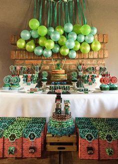 Dimequesi 's Birthday / Minecraft - Minecraft para Nico at Catch My Party Zombie Birthday Parties, Kids Birthday Themes, Zombie Party, Birthday Decorations, Mine Craft Party, Candy Bar Comunion, Minecraft Birthday Cake, Minecraft 1, Ben 10 Party