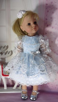 PIXIES HAND MADE:SILVER/ICE BLUE DRESS OUTFIT:GOTZ HANNAH/DESIGNA FRIEND in Dolls & Bears, Dolls, Clothing & Accessories, Other Dolls | eBay!