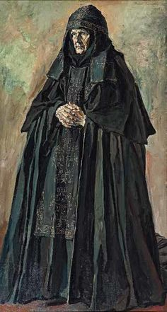 graveyarddirt:  A Schema-nun from the Ascension Convent in MoscowPavel Korin, 1933. Oil on canvas. 175 × 94cm Learn more about Eastern Orthodox monasticism here:Degrees of Eastern Orthodox monasticism.