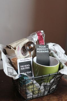 "DIY - Gift basket idea for dads ""Sunday morning wrapped in a basket"" - Plus PDF Label Printables"