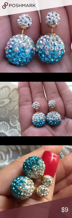 Blue & White Ombre Double Fireball Double Side Clay fireball posts go through earlobe and connect to marble-sized backs. Largest portions are the backs of earrings that are worn behind the earlobe. For pierced ears. Earring backs may seem bigger than expected if wearer is unaccustomed to double side earrings. Brand new retail w/o tags. No trades, no holding, no offsite/App transactions. Two pairs $15. Three pairs $23. Four pairs $29. Five pairs, 35. Six pairs, $40. Seventh pair…