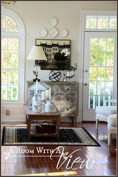 Neutral  Living Room decor. Traditional styling with a modern farmhouse twist.
