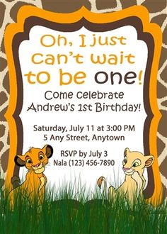 Birthday Invitation • Simba Theme • Free economy shipping • Fast turnaround time • Great customer service • These birthday invitations are custom, high resolution digital files that are personalized for each customer upon order