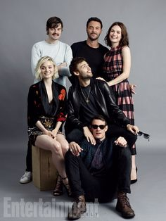 (Standing, l-r) Sam Reilly, Jack Huston, Lily James; (seated) Bella Heathcote, Douglas Booth; (on floor) Matt Smith, 'Pride and Prejudice and Zombies'  #EWComicCon   Image Credit: Michael Muller for EW