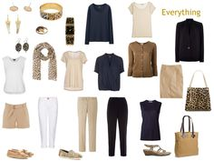 a 13-piece travel or capsule wardrobe in navy and beige with leopard accessories.