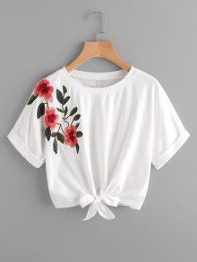 Shop Knot Front Cuffed Embroidered Tee at ROMWE, discover more fashion styles online. Girls Fashion Clothes, Teen Fashion Outfits, Mode Outfits, Trendy Fashion, Girl Fashion, Girl Outfits, Fashion Dresses, Clothes For Women, Crop Top Outfits