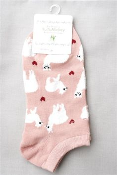 "Show you Love of alpaca with these cute socks! Cute ""No-show"" height cotton socks featuring our favorite camelid and little hearts of love."