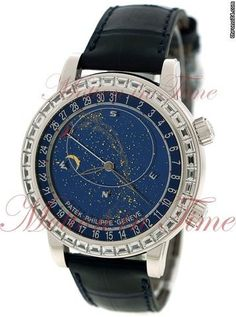 Patek Philippe Grand Complication Celestial Sky Moon with Date, Blue Dial, Baguette Bezel - White Gold on strap