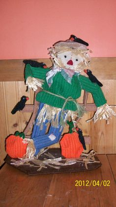 Scarecrow I made out of plastic canvas.