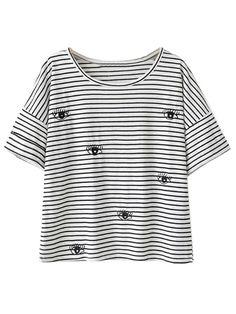 Black And White Stripe Eye Pattern Short Sleeve T-shirt | Choies