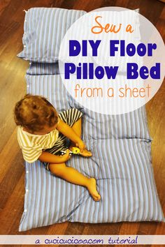 How to Sew a DIY Pillow Bed for the Floor - Cucicucicoo Diy Pillows, How To Make Pillows, Floor Pillows, Sewing Hacks, Sewing Crafts, Sewing Tutorials, Diy Craft Projects, Sewing Projects, Diy Flooring