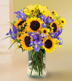 Sunflowers and Irises - really like this combination
