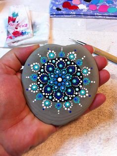 """Mandala actually is a sacred pactice enganged by Tibetan monks and many other cultures. Mandala words originated from classical Indian Sanskrit languange that could be losely means a """"circle"""". Here is DIY Mandala Rock Painting Dot Art Painting, Rock Painting Designs, Mandala Painting, Pebble Painting, Pebble Art, Stone Painting, Stone Crafts, Rock Crafts, Arts And Crafts"""