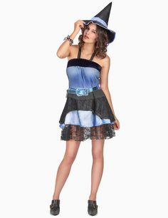 Costume strega halloween donna  Questo costume da strega da donna è  composto da un vestito 14a647cd7356