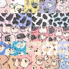 Designs by inkpug for sale on Spoonflower custom fabric and wallpaper Pug Illustration, Cute Pugs, Pug Life, Dog Art, Fabric Decor, Custom Fabric, Spoonflower, Swatch, Doodles