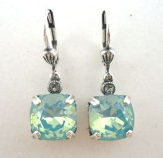 0defc6e59 CATHERINE-POPESCO-Beautiful-NEW-Pacific-Opal-Sq-Cut-Swarovski-Silver- Earrings