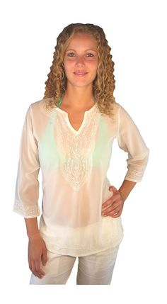 Cool summery sheer embroidered white tunic kurta is perfect over swimmers or a singlet top – Great for beach!    - Available upto size 18    - Made from Polyester    - Very comfortable to wear    - Side slits for a comfortable fit     - Can be machine washed in a L