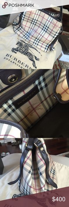 BURBERRY PURSE Burberry purse. Medium size. Dark brown leather finishing on trim. Comes with original bag. Burberry Bags Shoulder Bags
