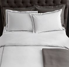 Italian Hotel Satin Stitch bedding in white with stone trim. From Restoration Hardware. I covet these linens fiercely.