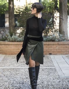 Skirt leather with velvet detail. www.cherryschoice.gr