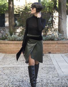 Skirt leather with velvet detail. www.cherryschoice.gr