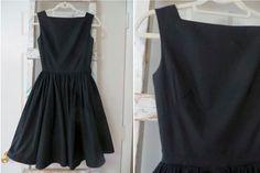 Little Black Dress Vintage Black Dress Cotton Dress Party Dress Cocktail Dress Everyday Dress 1950s Dress 1960s Dress Above the Knee Dress