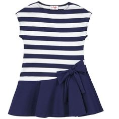 Il Gufo Striped stretch jersey dress Blue - 70744 | Melijoe.com