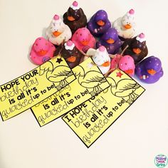 Need a cheap, fun, cute, unique gift for your students' birthdays? Give your students some cute rubber duckies! Grab these free tags to attach to them too!